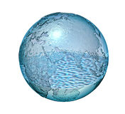 Planet Earth made of glass with a some water inside. Planet Earth made of glass with a small quantity of water inside. Isolated On white background. Clipping Royalty Free Stock Photos