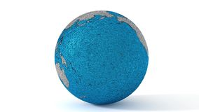 Planet earth made in rough shiny metal blue and silver stock footage