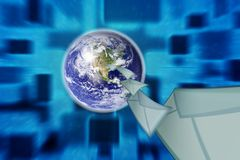 Planet earth and mail the envelope Royalty Free Stock Image