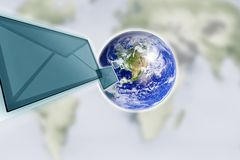 Planet earth and mail the envelope Royalty Free Stock Images