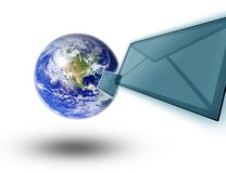 Planet earth and mail the envelope Royalty Free Stock Photography