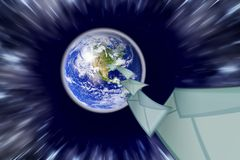 Planet earth and mail the envelope Royalty Free Stock Photo