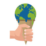 planet earth melting icon Royalty Free Stock Photo