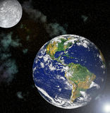 Planet earth and moon Royalty Free Stock Photos