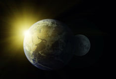Planet Earth and moon Royalty Free Stock Photography