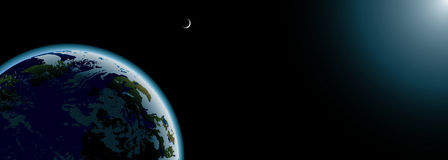 Planet Earth and moon banner royalty free illustration