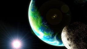 Planet earth and moon, flyby, space, astronomy. Planet earth and moon, flyby, space, astronomy, Computer generated stock footage