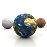 Planet earth,moon and mars. And white background Stock Images
