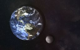 Planet earth and moon in the space. Science fiction. Elements of this image were furnished by NASA royalty free illustration