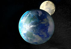 Planet Earth, Moon and Stars. Background with a Planet Earth, Moon and Stars Royalty Free Stock Photography