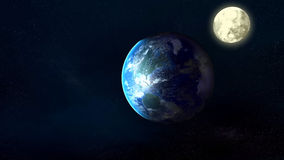 Planet Earth, Moon and Stars Royalty Free Stock Photos