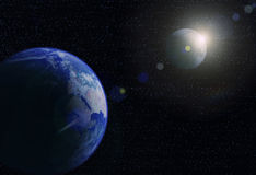 Planet Earth, moon and sun Royalty Free Stock Image
