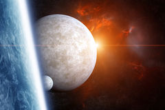 Planet Earth with Moons and Nebula on Background Stock Image