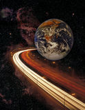 Planet earth and motorway in space Royalty Free Stock Photos