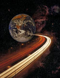 Planet earth and motorway in space Royalty Free Stock Image