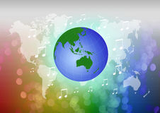 Planet Earth with music note Royalty Free Stock Photos