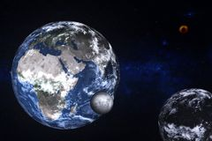 Planet Earth near unknown dark planet with Moon somewhere in space. Planet Earth of Solar system near unknown dark planet with Moon somewhere in space. Science vector illustration