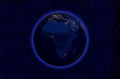 Planet earth at night- Africa Royalty Free Stock Image