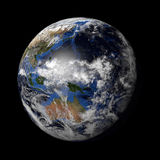 Planet Earth with night and day and clouds black Stock Photography