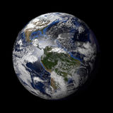 Planet Earth with night and day and clouds black Royalty Free Stock Photos