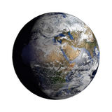 Planet Earth with night and day and clouds white Stock Image