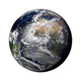 Planet Earth with night and day and clouds white Royalty Free Stock Images