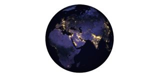 Planet earth at night seen from space llights. Of the city stock photo