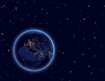 Planet earth on night sky. Europe, Africa and Asia Stock Photo