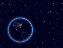 Planet earth on night sky. North and South America Stock Images