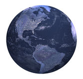 Planet earth at night white background. Three dimensional original like planet earth generated by me Royalty Free Stock Images