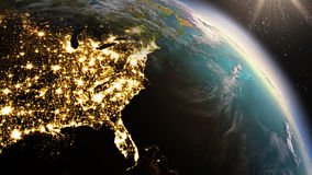Free Planet Earth North America Zone Using Satellite Imagery NASA Royalty Free Stock Images - 56200129