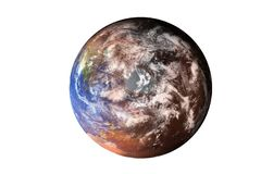 Planet Earth. North Pole view from top of solar system . Elements of this image furnished by NASA. Planet Earth deteriorated. North Pole view from top of solar stock image