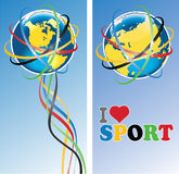 Planet Earth with Olympic rings.Banners.Vector. Planet Earth with the Olympic rings around and ribbons with the Olympic colors. Vertical banner. The phrase I Royalty Free Stock Photo