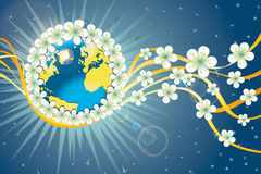 Planet earth in orbit of spring flowers and ribbon Stock Photography