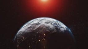 Planet earth orbit zoom in red sunlight radiance