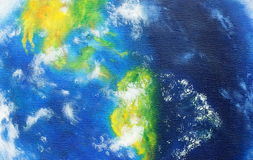 Planet earth. Original painting on canvas. American continent. Stock Image