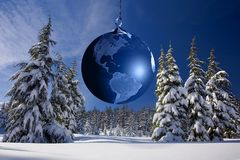Planet earth ornament in forest Royalty Free Stock Image
