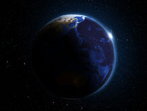 Planet Earth in outer space 3d illustration Royalty Free Stock Photos