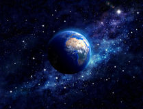 Planet Earth in outer space. Imaginary view of planet earth in a star field. Elements of this image furnished by NASA Royalty Free Stock Photo
