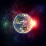 Planet earth in outer space with moon, atmosphere and sunlight Royalty Free Stock Photos