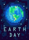 Planet Earth from outer space. Pixel-art illustration. Stock Photography