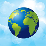 Planet earth. Over sky background  vector illustration Royalty Free Stock Photos
