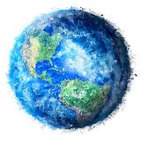 Planet Earth painting. Hand painted, isolated,high quality texture of planet Earth. The most beautiful painting in transparent background, ideal for large size stock illustration