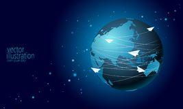 Planet Earth with paper plane messaging letters. Online internet network communication mail. International global vector illustration