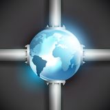 Planet earth and pipes for fuel production Royalty Free Stock Photography