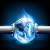 Planet earth and pipes for fuel production Stock Photos