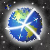 Planet earth. With planes and satellite royalty free stock photo