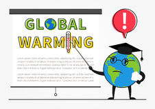 Planet earth professor warns about global warming Royalty Free Stock Image