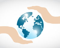 Planet earth protect in hands Royalty Free Stock Image