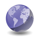 Planet Earth Purple. Shiny Planet Earth globe with white background. Created in photoshop. Also see the alternative colors Royalty Free Stock Photos